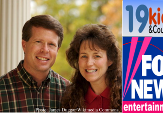 Jim Bob Duggar and his wife and logos for Fox News and the 19 Kids and Counting reality show