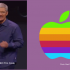 Apple CEO Tim Cook and old rainbow Apple corporate logo