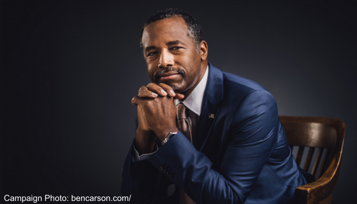 Dr. Ben Carson official campaign photo as shown on his website, bencarson.com.