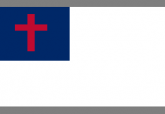 Christian Flag - white with blue square in upper left corner with a red cross in it