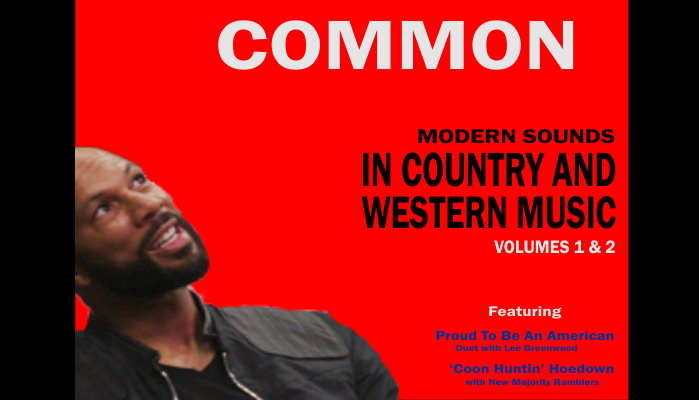 Fake CD covers of a fake CD of country music by rapper Common with a picture of Common