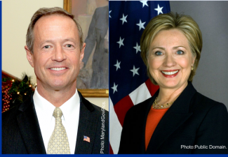 Combined photos of Hillary Clinton and Martin O'Malley