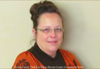 Kim Davis, Rowan County, Kentucky, clerk who refuses to issue same-sex marriage licenses.