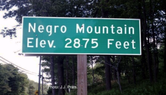Green roadsign show elevation of Negro Mountain as 2,875 feet