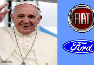 Picture with Pope Francis covering 2/3 of the frame and the logos of Fiat and Ford Motors occuping the other 1/3 of the frame.