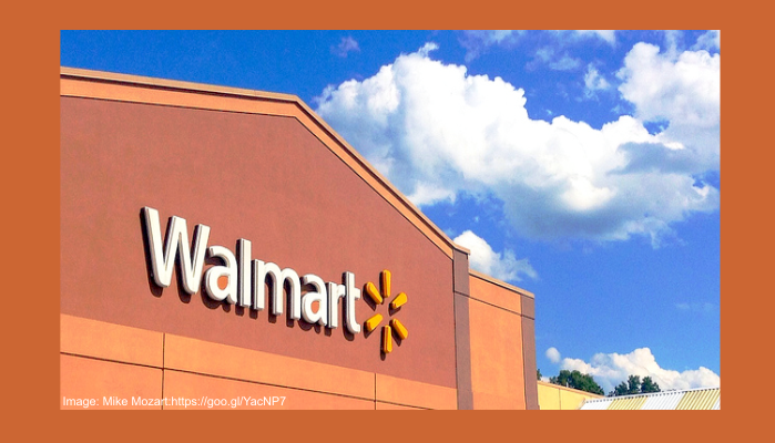 Photo of top of a Walmart store showing the Walmart logo