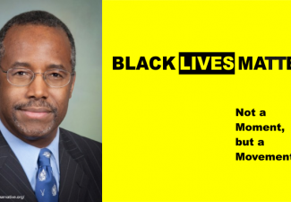 Above Chest photo of Dr. Ben Carson in one-third of the frame, with logo of Black Lives Matter in rest