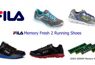 Four Shoe Styles of FILA Memory Fresh 2 Running Shoes and photo of DDR3 SDRAM memory modules and Fila logo