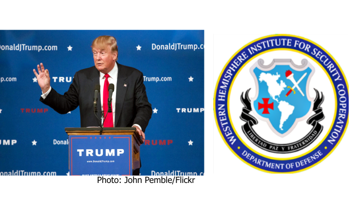 Campaign Photo of Donald Trump speaking from a podium. Logo for the U.S. Army Western Hemisphere Institute for Security Cooperation school.