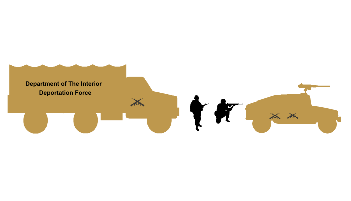 Outline of a Humvee and large military transportation truck with lettering of a fictitious Department of the Interior Deportation Force.