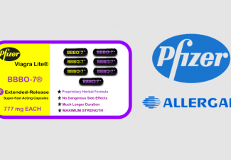 Logos of Pfizer and Allergan with graphic of a fake herbal viagra product with labeling and showing 7 capsules of the fake product