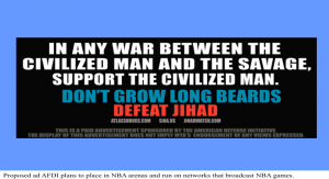 Example of jihad ads Pam Geller group ran in public mass transit systems in several U.S. cities.