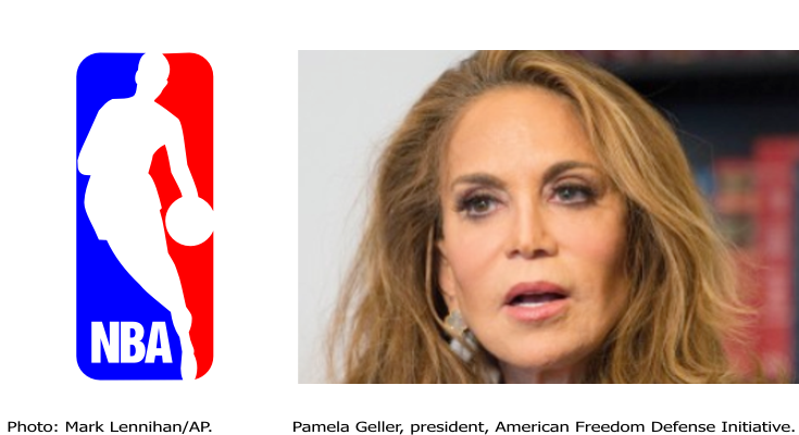 Anti-Islam activist Pamela Geller and NBA logo.
