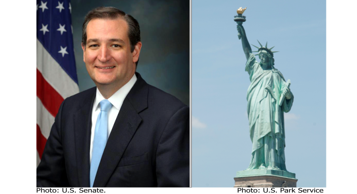 Texas Senator Ted Cruz and Photo of Statue of Liberty