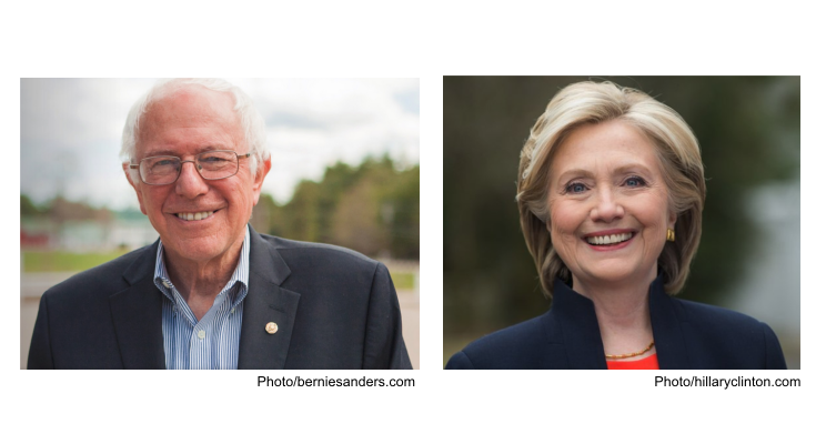 Photos of Bernie Sanders and Hillary Clinton