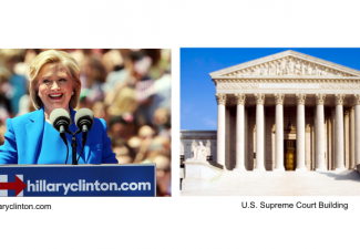 Hillary Clinton and Supreme Court Building