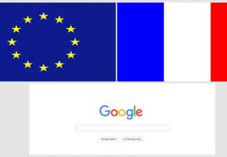 European Union and France flags with Google Search homepage