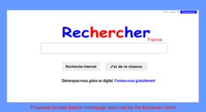 European Union proposed new Google Search France homepage