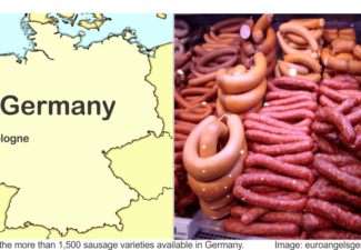 Germany map and pictures of sausages